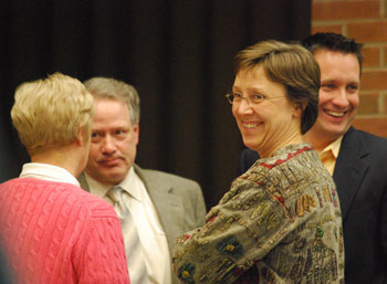 Happy supporters: DDA members Leah Gunn and Roger Hewitt with CM Margie Teall and Leigh Greden (photo Ann Arbor Chronicle)