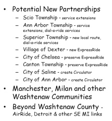 "Proposals for ""beyond the urban core"" services, perhaps at net service cost"