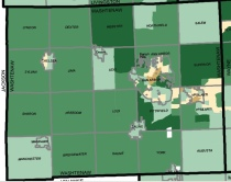 Washtenaw communities (census tracts) by median income. Dark green is highest, sand color is lowest.