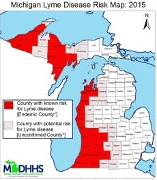 The migration east of Lyme Disease. Note that Jackson County is now shown as potential though unconfirmed.